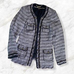 White House Black Market Blue Tweed Blazer Jacket